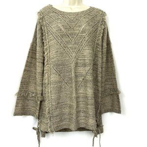 Knox Rose Tunic Sweater L Fringe Lace Up Sides